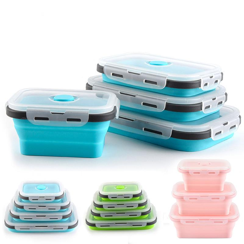 Silicone dobrável Lunch Box Food Storage Container Bento BPA Microwavable portátil Picnic Camping Retângulo Box Outdoor