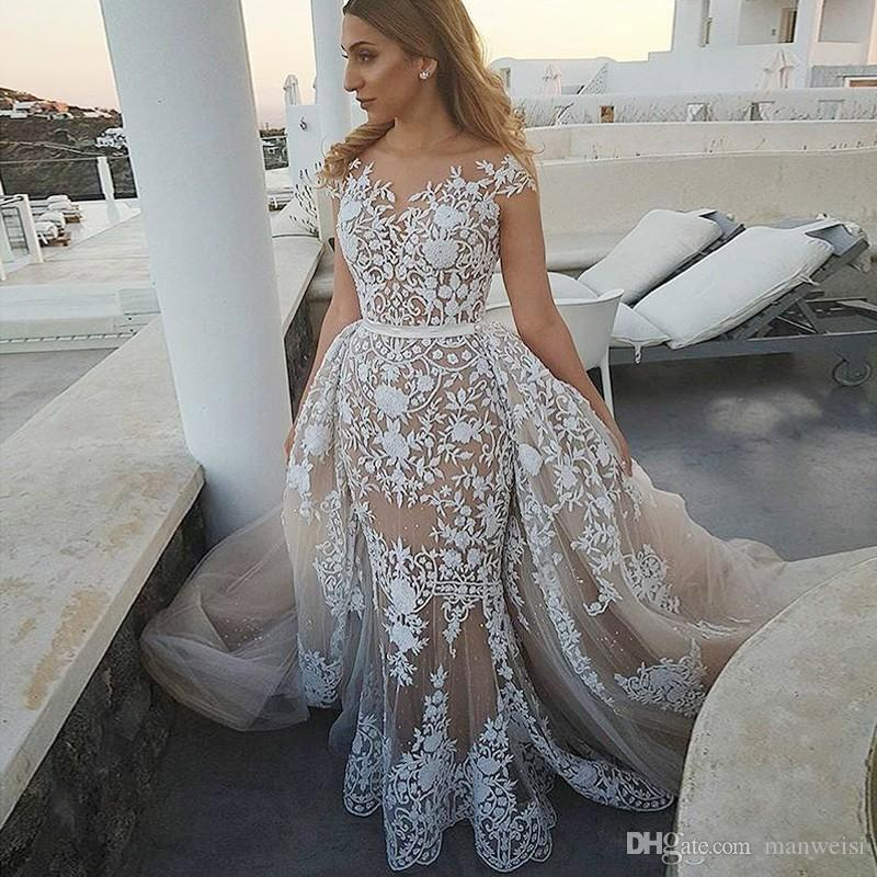 2016 Lace Bridal Gowns With Detachable Tulle Overskirt And
