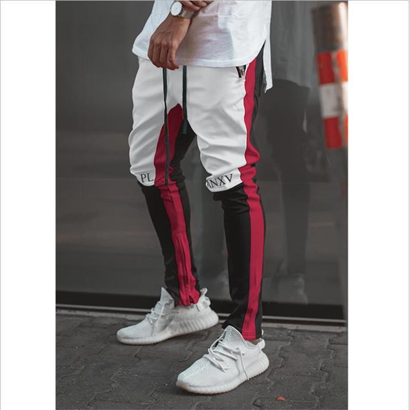 costura zíper aptidão algodão Slim calça casual calças desportivas populares dos homens