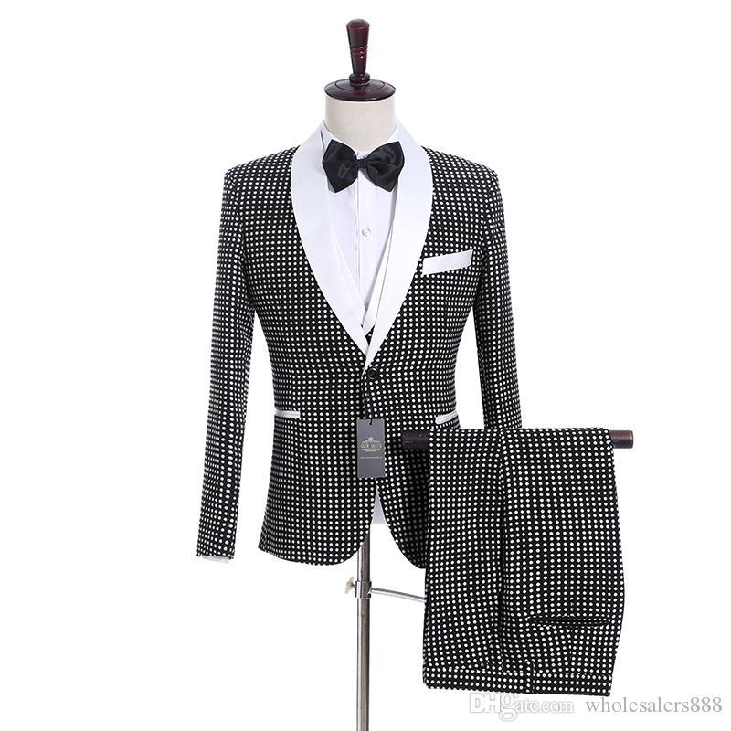 New Groomsmen Black with Dot Groom Tuxedos Shawl White Lapel Men Suits Side Vent Wedding/Prom Best Man Blazer ( Jacket+Pants+Vest+Tie ) K938
