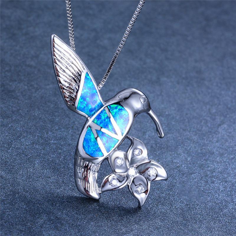 Hummingbird y Flor Océano Azul Ópalo De Fuego dejar Pendientes Colgantes Joyas De Plata