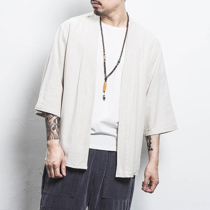vbViz estilo chino marca de moda de protección solar ropa traje de algodón ropa de verano sunscree juego de la espiga suelta algodón y lino chaqueta de punto de los hombres coreanos
