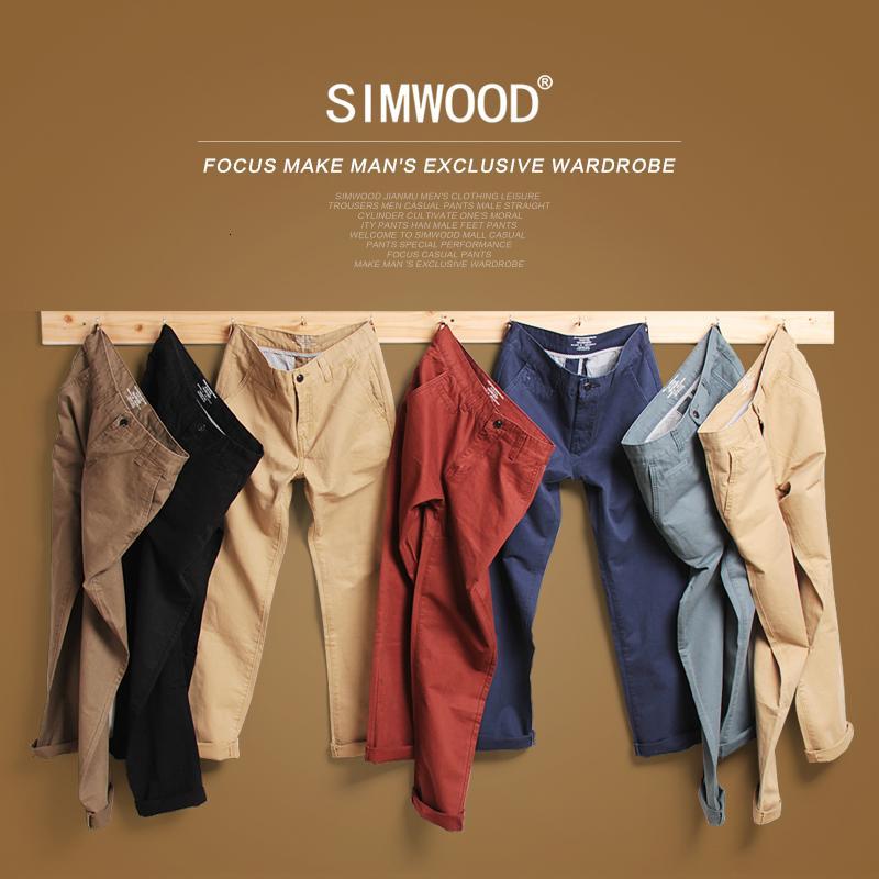 Simwood Marca otoño invierno 2019 nuevo de la manera delgados rectos pantalones ocasionales 100% del algodón puro hombre pantalones más el tamaño de KX6033 V191114