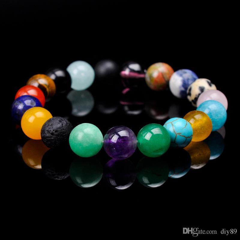 Moda Venda Quente 10mm Ágata Natural Pulseira de Yoga Frisado Colorido Moda Chakra Energia Jóias Pulseira Frete Grátis
