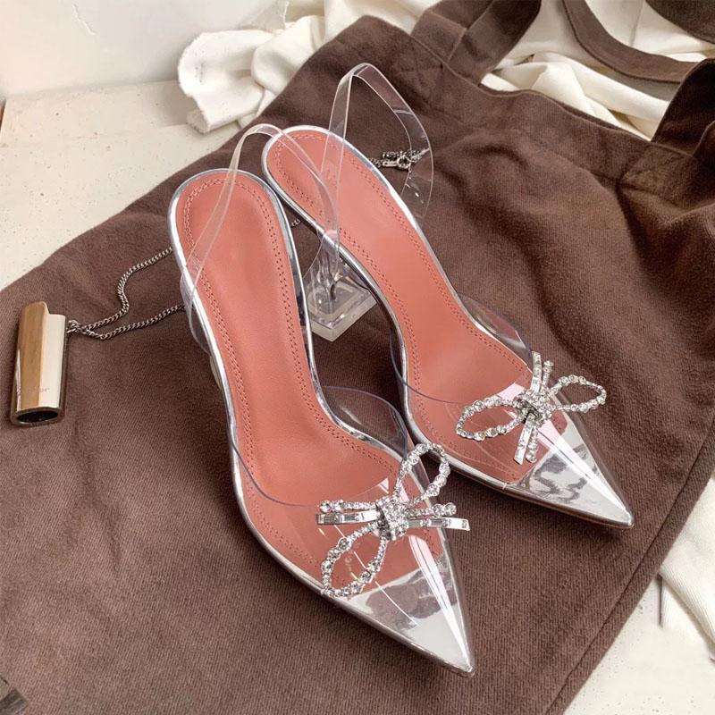 Summer'ın yeni kristal stiletto sandalet, kutu ve toz torbası ile yapay elmas yay topuklar, düğün, parti ayakkabı, boyut 35-40,