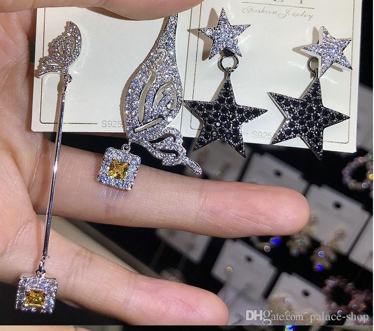 Commercio all'ingrosso casuale 10pcs / lots di alta qualità chaming cristallo gioielli con diamanti pietra 925 orecchini d'argento della signora 6.6ryt