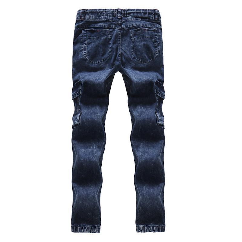 Синие мужские Карандаш джинсы с Плиссированные Regular Mid талии Дизайнерские мужские брюки хлопок Tether мужской одежды