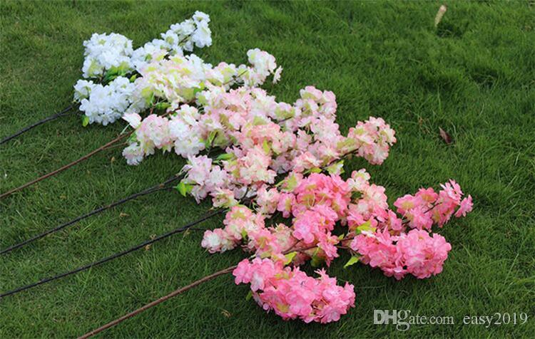 """Longo casamento Ramos Cherry Blossom buquê de flores simulação flor de cerejeira 1m 39"""" Decoração Arch Início casamento da flor de cerejeira flores."""