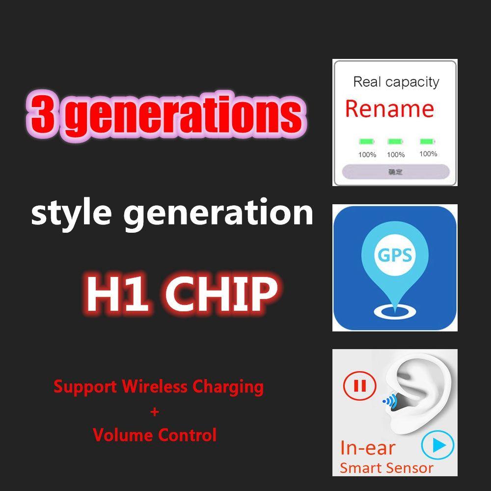 New MWP22AM / A com número de série válido 3 gerações H1 Chip de carregamento sem fio Earbuds US Versão Alterar Nome Com localização GPS Headphones