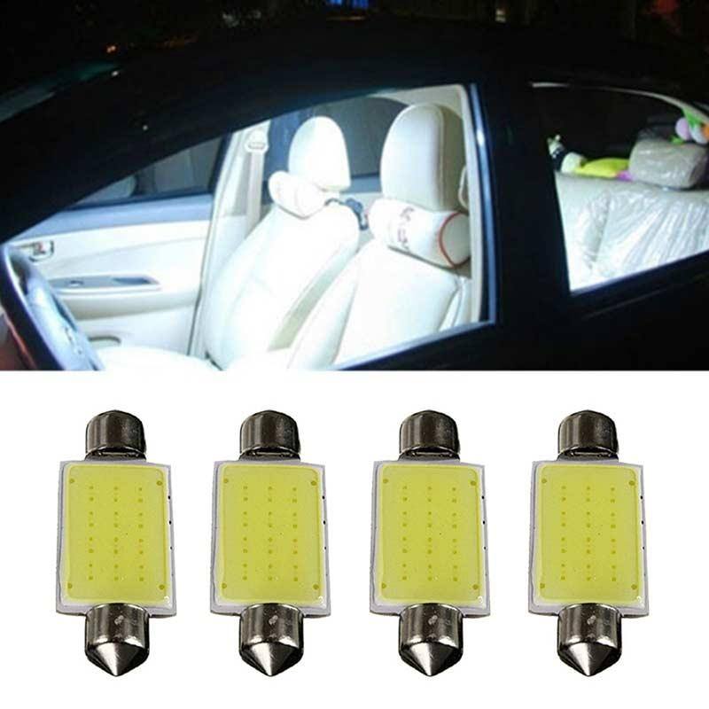 New 4 pièces Festoon COB 41MM 2W voiture Ampoules LED Intérieur Dôme lumières blanches 12V DXY88