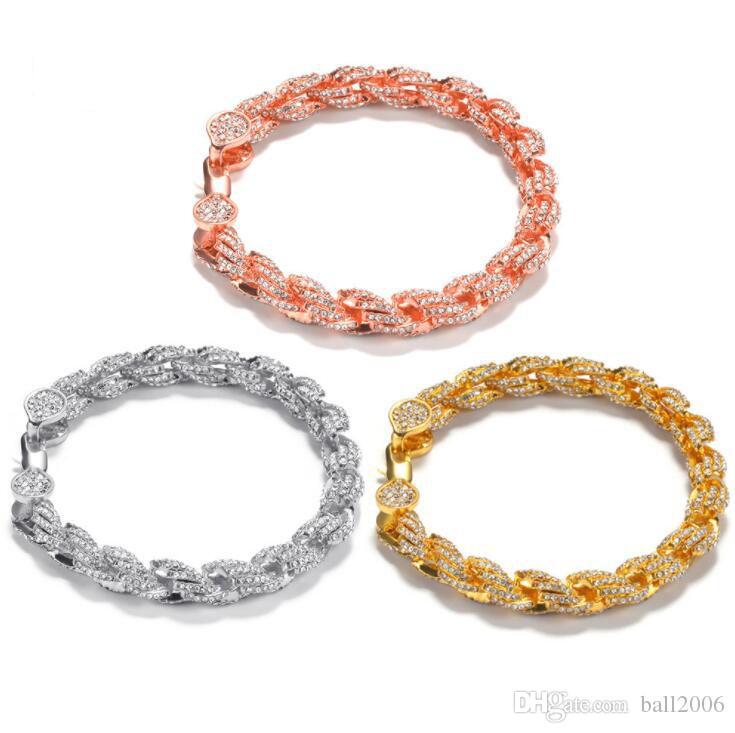 Nouveau bracelet en alliage incrusté de diamants hip hop 9MM accessoires de personnalité de la mode de la chaîne de corde de torsion torsadée 7inch 8inch