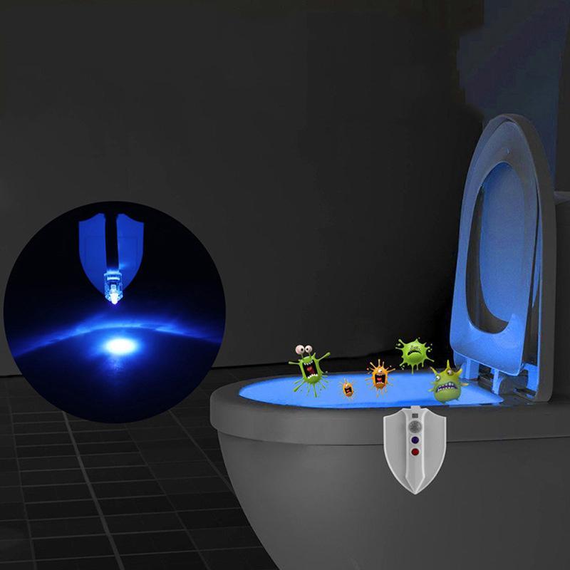 8 Renkler UV Sterilizasyon Tuvalet Işık Hareket Aktif Koltuk Sensörü Banyo Tuvalet Lambası Gece aydınlatması LED UV Işık 10105
