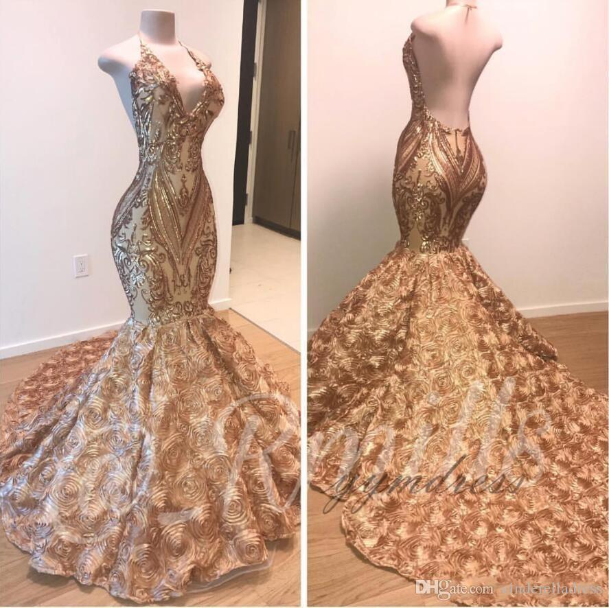 2020 Sexy African Gold Prom Dresses Mermaid Halter V Neck 3D Flowers Sleeveless Evening Dress Long Sweep Train Arabic Party Gowns BC1335