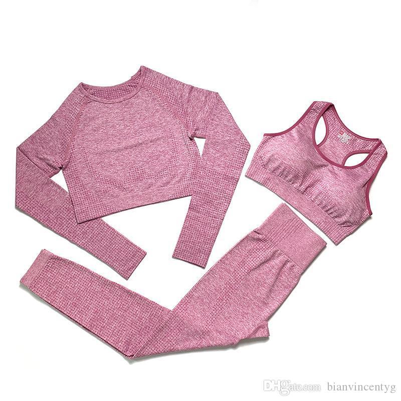 kıyafetler çalışan moda Marka Tasarımcı Bayan Pamuk Yoga Suit Uzun Kollu Sportwear Tracksuits Spor Spor 3 Adet seti pantolon sutyen gömlek