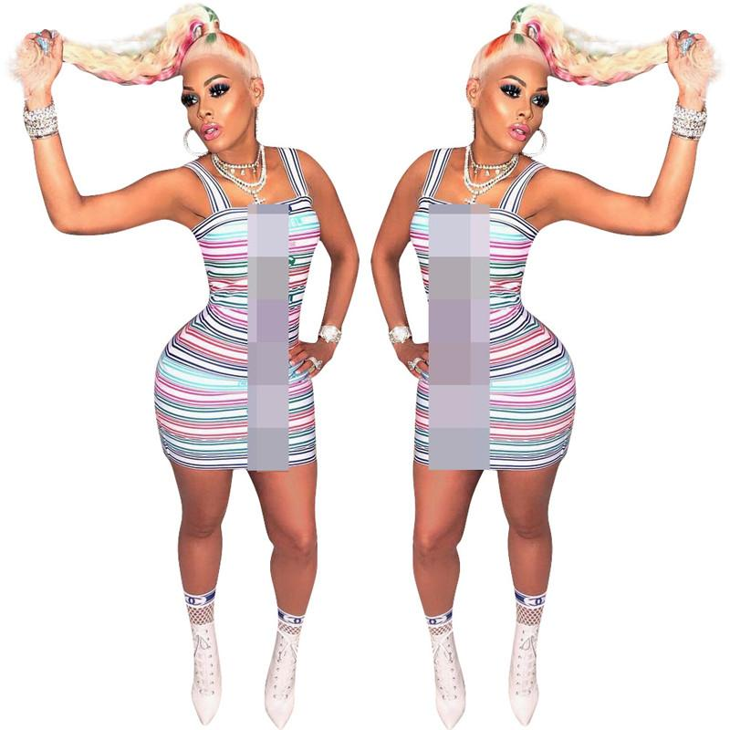 2019 مصمم المرأة فساتين الصيف التباين اللون شريط قطعة واحدة bodycon اللباس النساء الفاخرة تنورة قصيرة حزب اللباس الملابس C61907