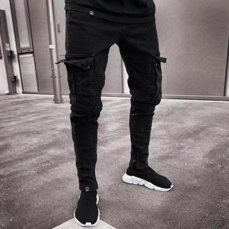 Los nuevos Mens del diseñador de moda los pantalones vaqueros de color Negro Agujeros rasgados en dificultades Jean lápiz pantalones con bolsillos adolescentes Delgado Pantalones