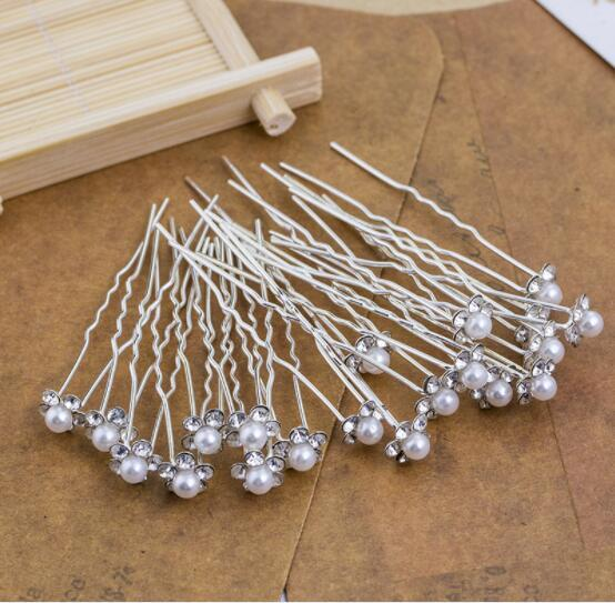 New Hot Selling Alloy Pearl U-Shaped Hairpin Bridal Hair Hair Pearl Pearl Diamond Hairpin Wholesale Headpieces