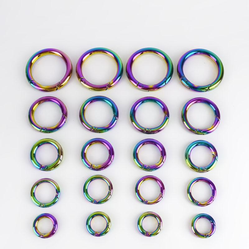 Meetee 12/17/19/25 / 32mm Regenbogen Runde Frühling Metall O Ring Schnalle Karabiner Karabinerhaken Schlüsselbund Verschluss DIY Taschen Zubehör