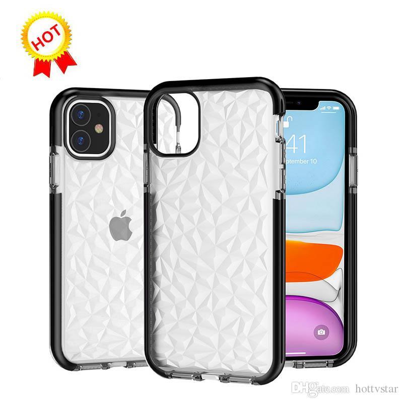 Caliente del modelo del diamante del teléfono para el iPhone XS Max para el iphone 11 XR X 8 7 6 6S Plus contraportada del color del caramelo anti golpee Casos