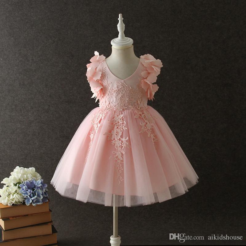 Boutique Girls Dresses Wedding Party girl dress pink princess style for special occasions ball gown with bowknot for 3 4 5 6 7 8 years old