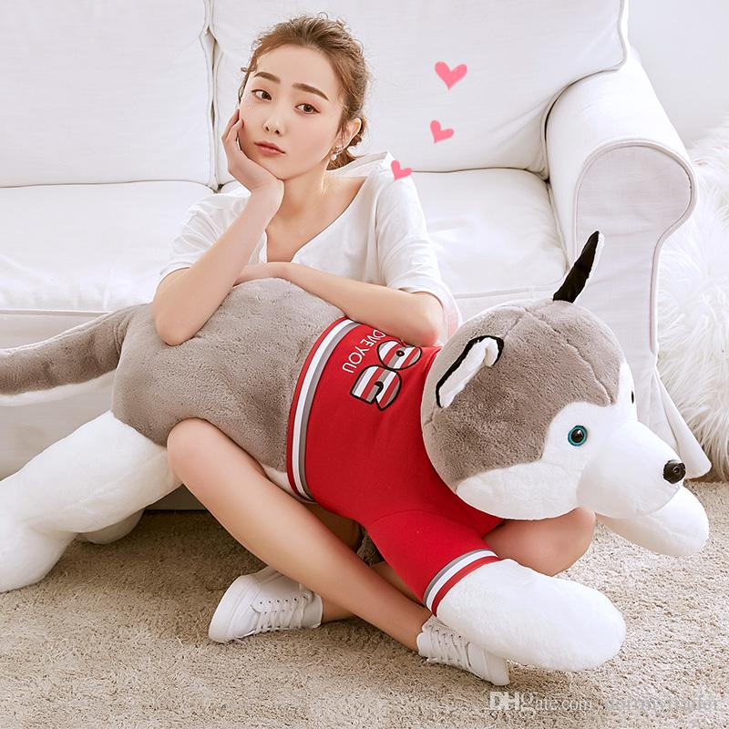 New Cute Lying Husky Plush Toy Giant Soft Stuffed Dog Doll Pillow for Children Adults Gift Deco 47inch 120cm DY50685