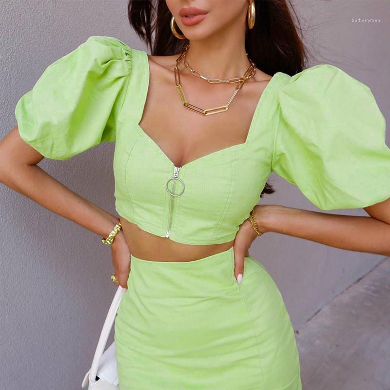 Peça Vestido Designer Puff Sleeve Top Curto Dividir vestido Mulheres Roupa Francês Womens Two Piece Define Moda Natural de duas cores