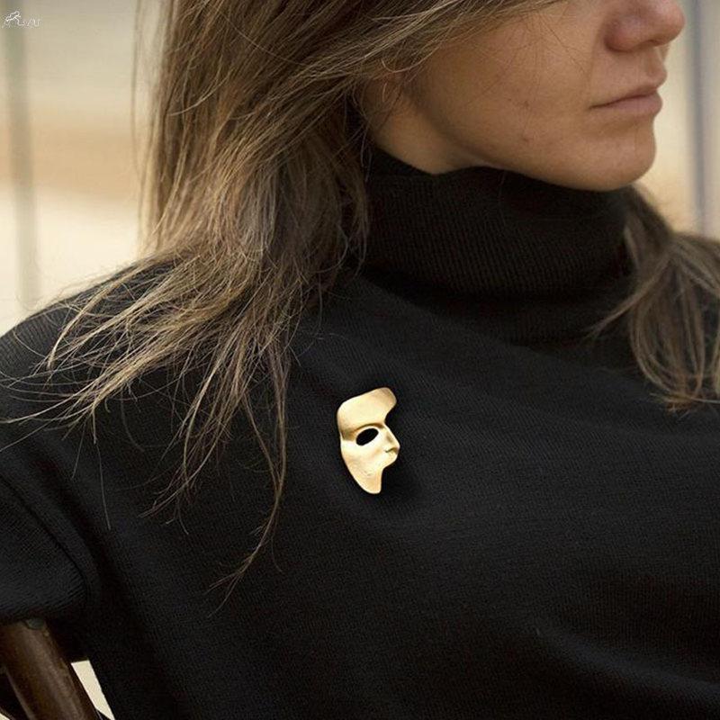 2019 Broches exageradas para as Mulheres da cor do ouro do metal Hijab pinos Abstract Meia Face máscara do partido Pin broche de jóias