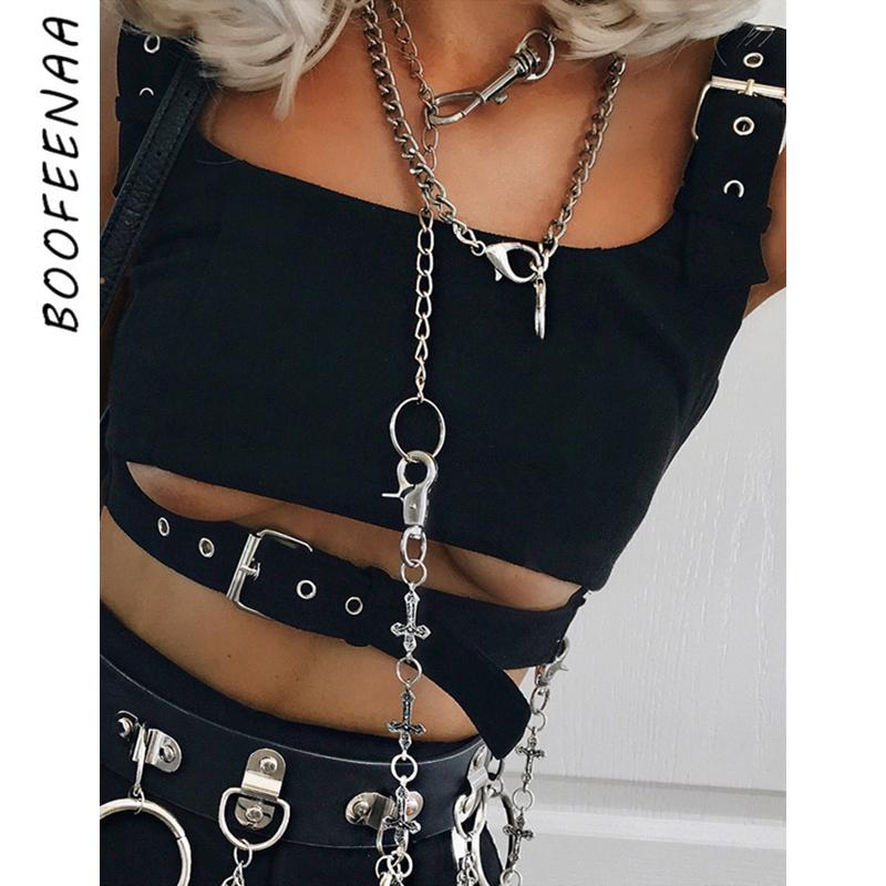 BOOFEENAA Metal Buckle Hollow Out Black Tank Top Women Streetwear Fashion Crop Tops Gothic Sexy Tops Clubwear Summer 2020 T200508