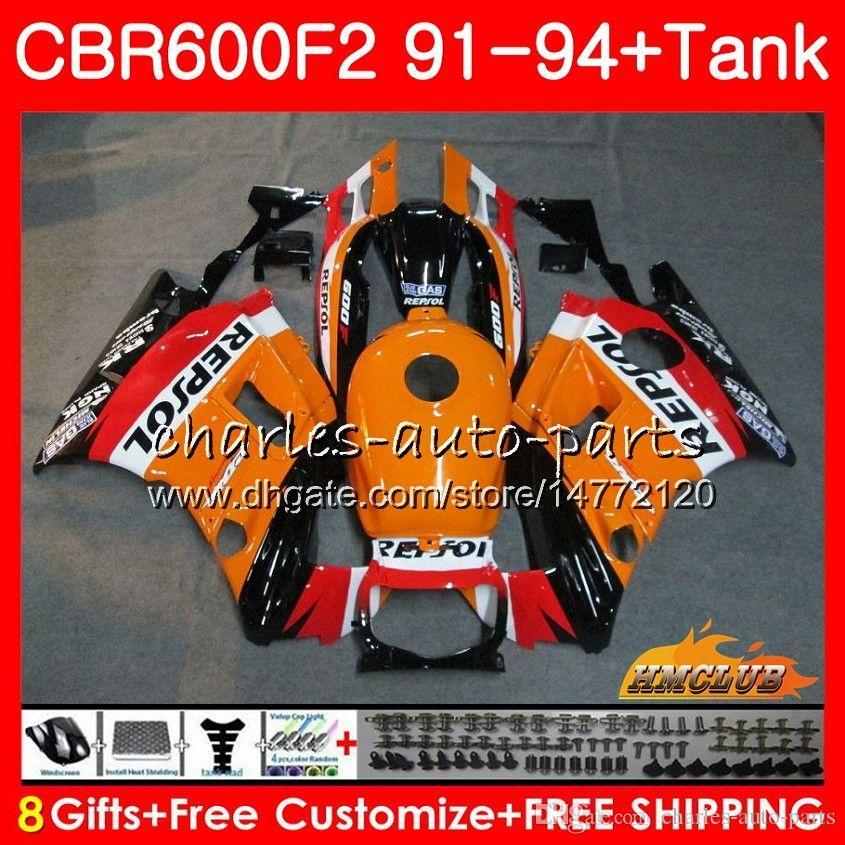 Ciało + zbiornik dla Honda CBR 600F2 CBR600FS CBR 600 FS FS F2 91 92 93 94 40HC.0 600CC CBR600 F2 CBR600F2 1991 1992 1993 1994 Owalnia Repsol Orange