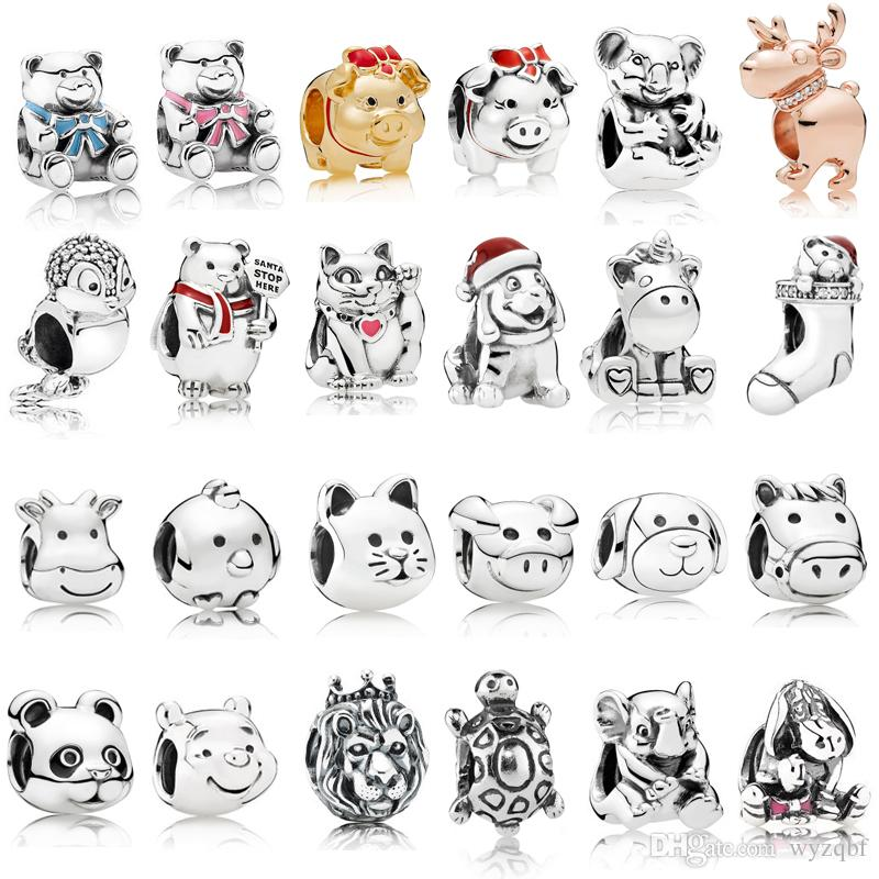 925 Sterling Silver Animal Encantos Multi Estilo Cat Dog Bears Lion Beads Fit Pandora prata 925 Charme Original Pulseiras Jóias