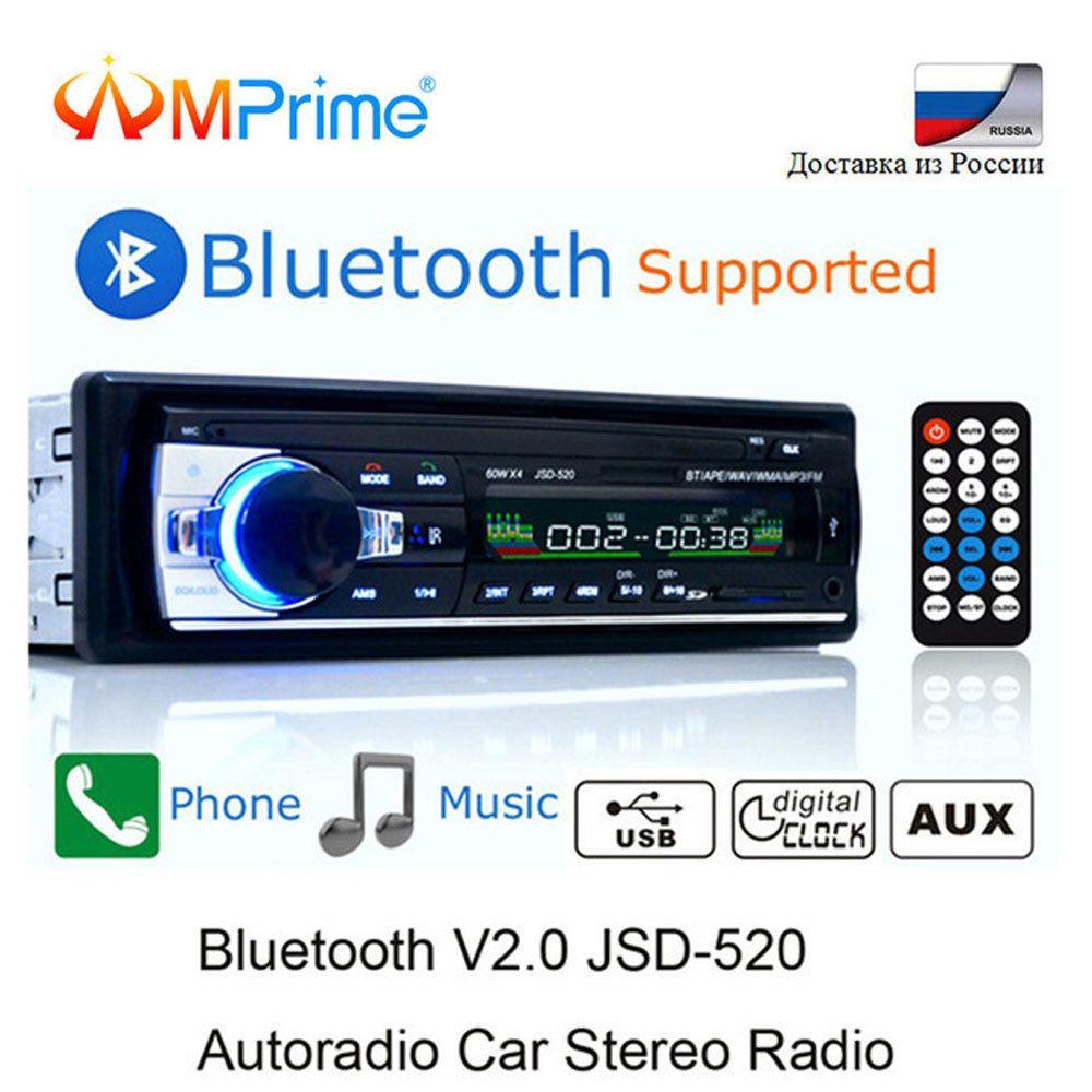 JSD-520 Car Radio Bluetooth 12v Em-traço 1 Din Stereo Autoradio Jogador Aux-in Mp3 FM USB SD Sd Car Audio Player