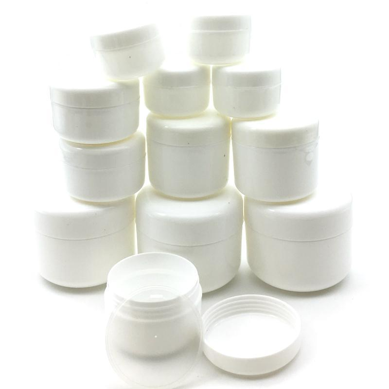 30pcs 10g / 20g / 30g / 50g / 100g Vazio maquiagem frasco Pot recarregáveis frascos de amostra Rosto Viagem Creme Loção Cosmetic Container Branco
