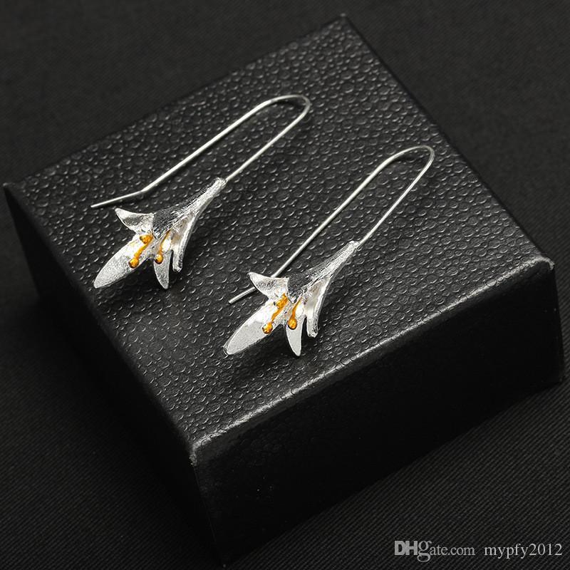Мода Orchid Длинные серьги для женщин Таиланд Серебро ручной Charm цветок мотаться серьги падения цвета серебра