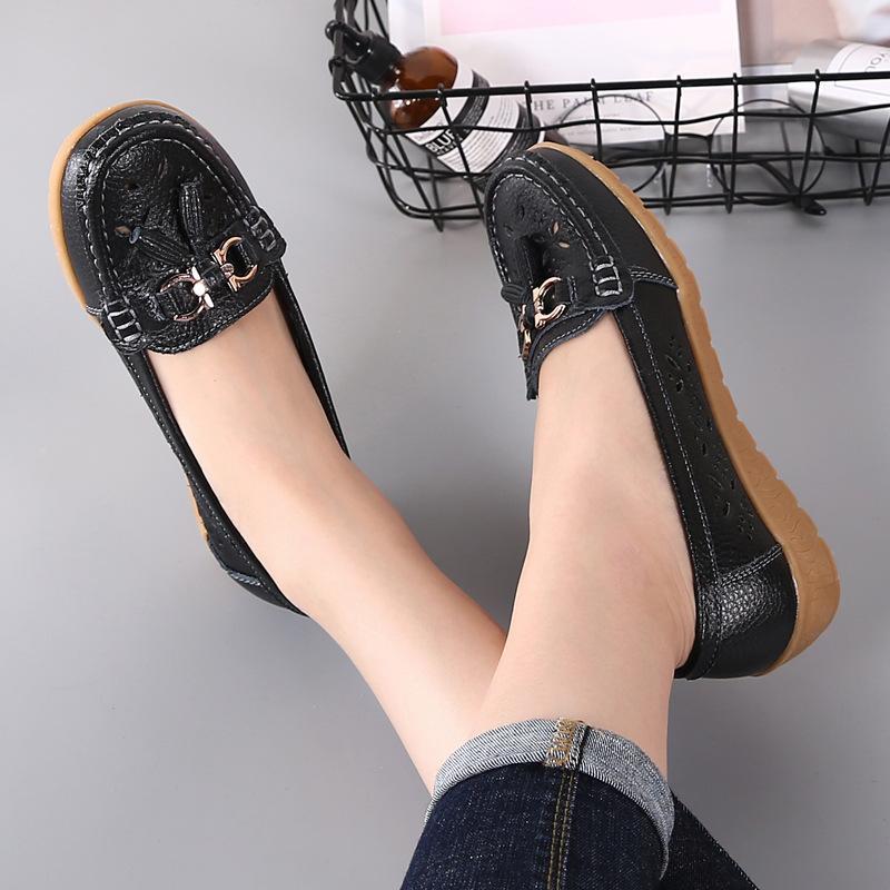 상자 패션 레이디 플랫 여성들 New 금속 장식 소프트 편안한 중공 아웃 캐주얼 신발 여성 신발 학생 2020 봄 AA ooerg와