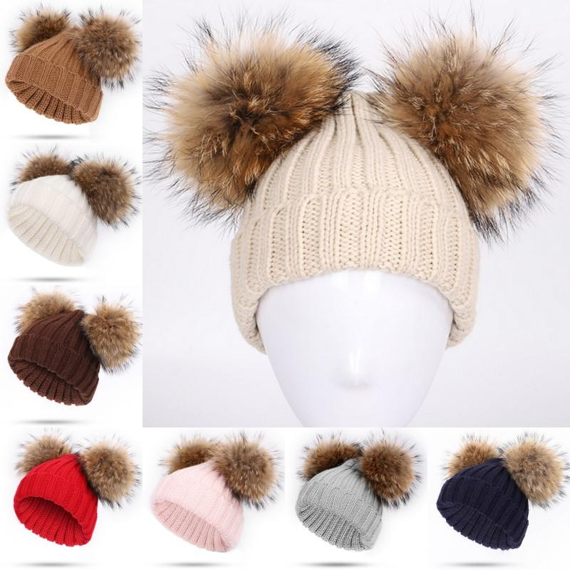 201910 New Arrival Children And Girls Fashion Knitted Hat Winter Warm Pom Pom Big Fur Ball Wool Hat Warm Outdoor Caps New Year Gift N37A