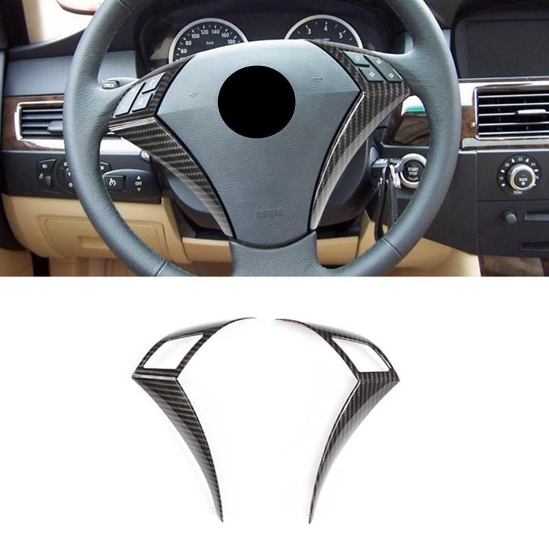 Carbon-Faser-Farbe Tasten am Lenkrad Dekorative Rahmenabdeckung Verkleidung für BMW 5er E60 E61 2003-2010 Innenausstattung