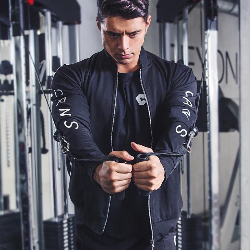 Nueva moda al aire libre con cremallera Cardigan Coat Hombres Fitness Primavera Otoño Thin Men Sports Casual Street Wear Running Workout Top