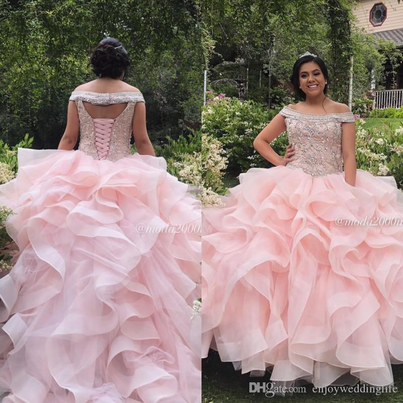 Pink Beaded Crystals Ball Gown Quinceanera Prom Dresses Off Shoulder Organza Tiered Formal Dress Sweet 15 Evening Party Sweet 16 Dress