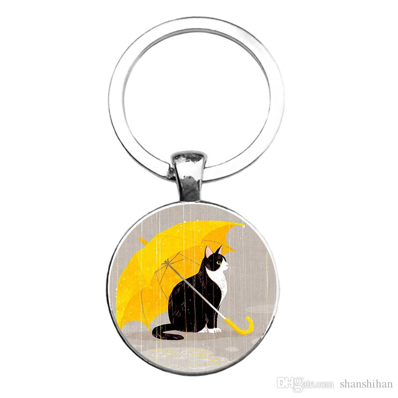 Steampunk Pendant Keychains The Secret Life of Pets Cat Keyfob Silver Plated keying Best Friends Jewelry