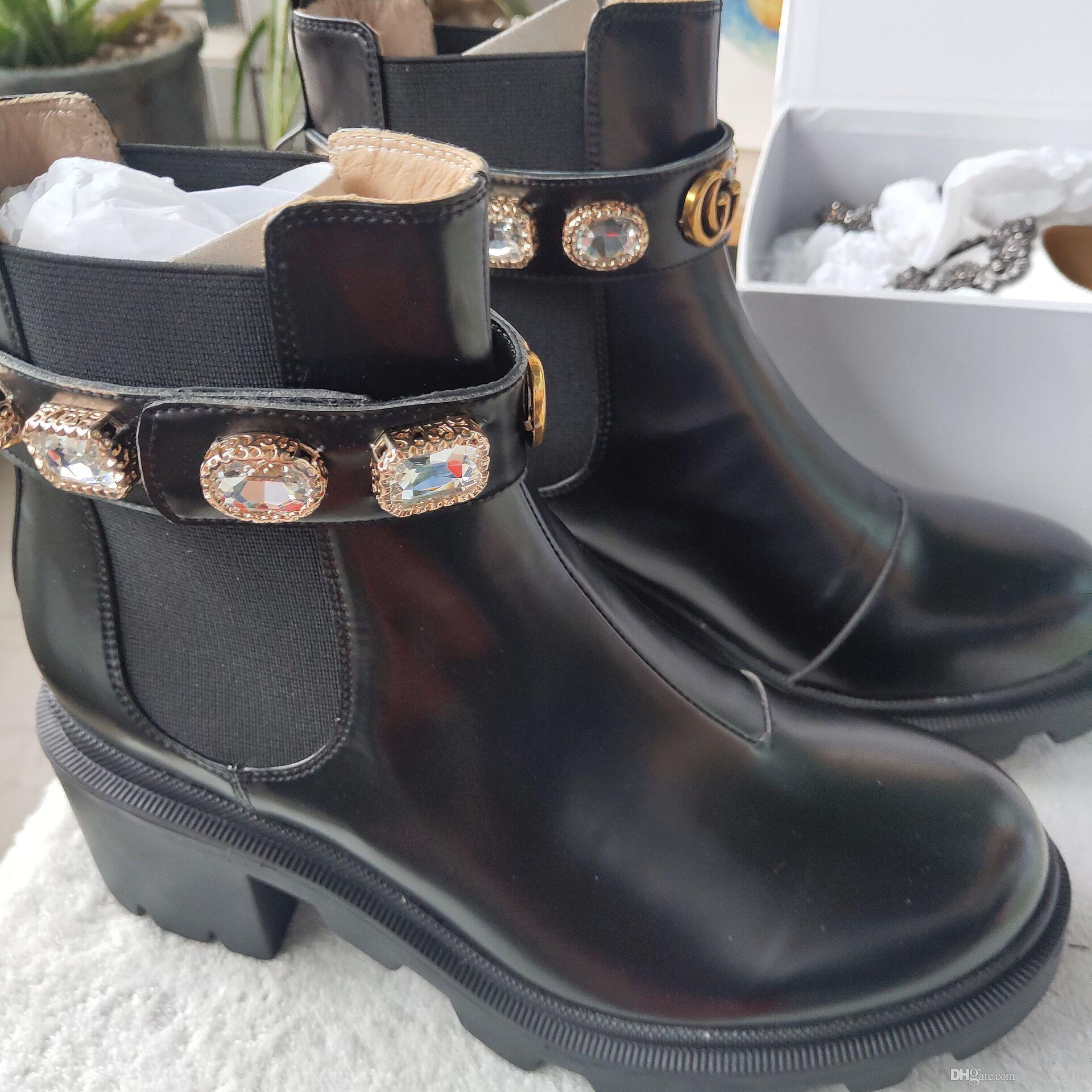 클래식 유럽 스타일의 로마 신발, Ladies'Shoes, 마틴 부츠, 오토바이 부츠, 섹시 부츠 크리스탈 장식 낮은 굽의 고무 밑면