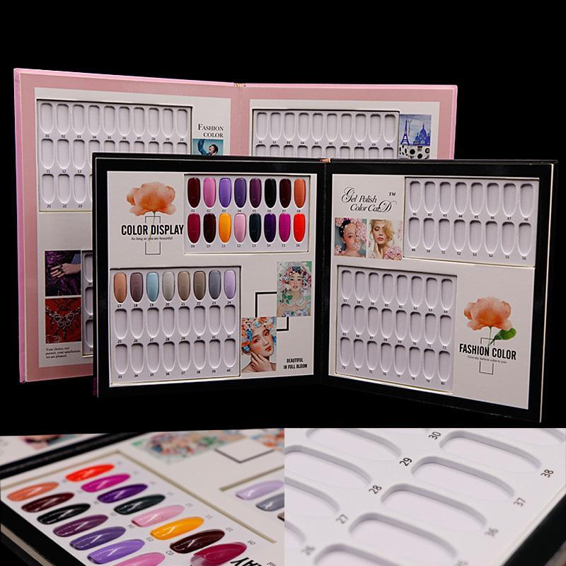 Polacco del gel Nail display Grafico Scheda Libro Mosaic Paper Board Nails scheda Colore Nail Art Salon Manicure Tools 60/80 Colori