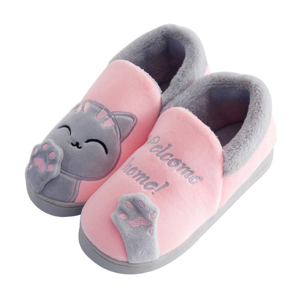 Cute Non-slip Winter Slippers Women Winter Home Cartoon Cat Non-slip Warm Indoors Bedroom Floor Shoes Ladies Indoor Slippers