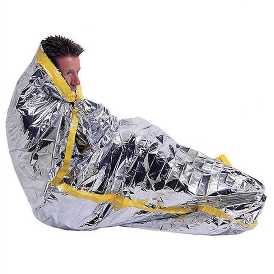 للماء قابلة لإعادة الاستخدام واقية من الشمس الطوارئ بطانية حصيرة 100 * 200CM الفضة المحمولة احباط التخييم بقاء الحارة كيس النوم في الهواء الطلق LJJA3682-12