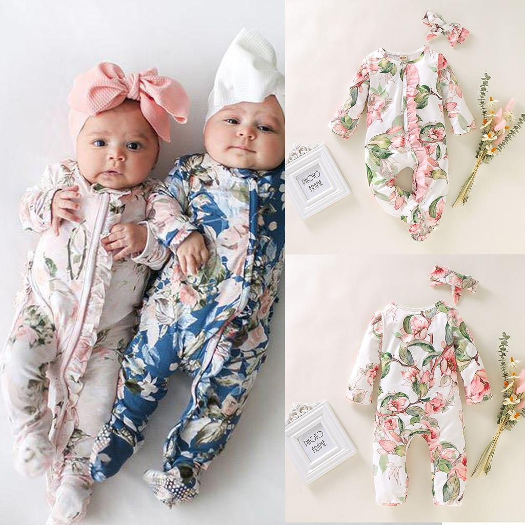 Stylish Print Romper set Newborn Infant Baby Girls Boys Footed Sleeper Romper Headband Clothes Outfits bebek tulum recem nascido