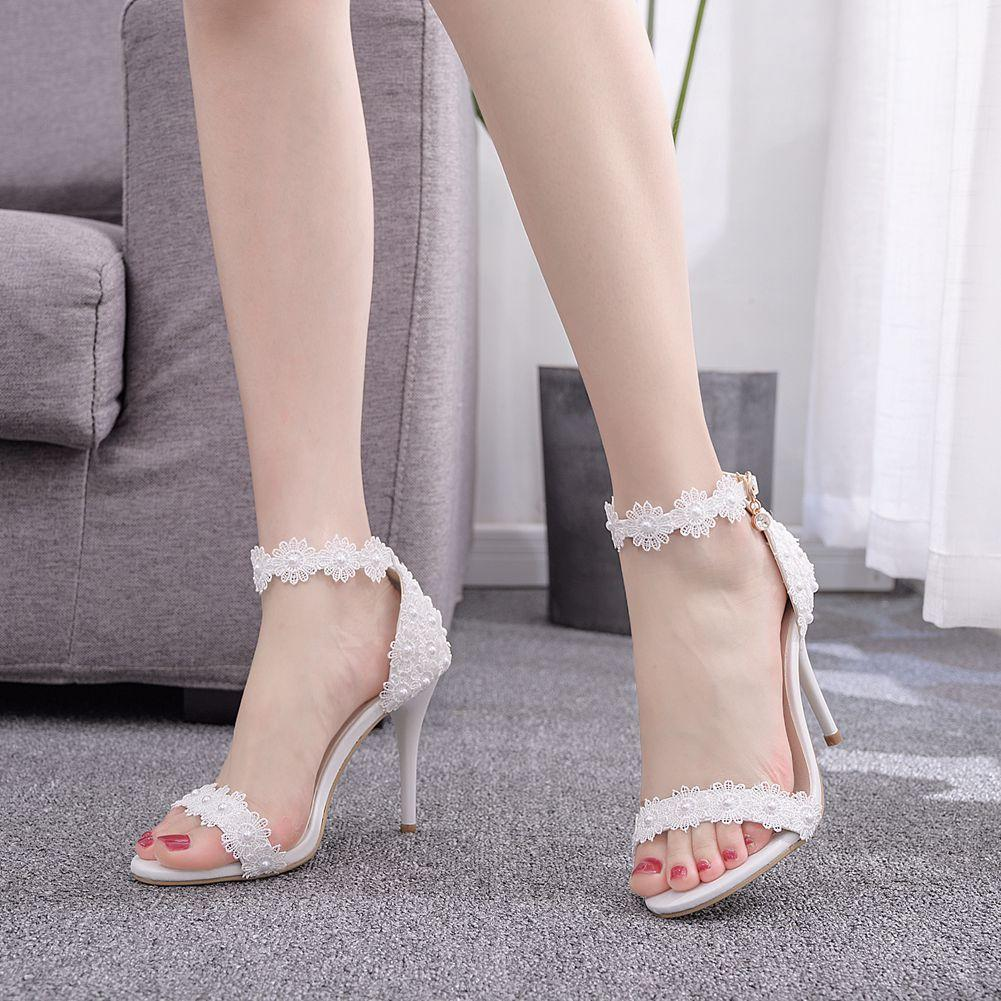 New women high-heeled sandals fashion lace flowers pearl 9cm open toe bridesmaid banquet wedding shoes ankle strap size 35-42