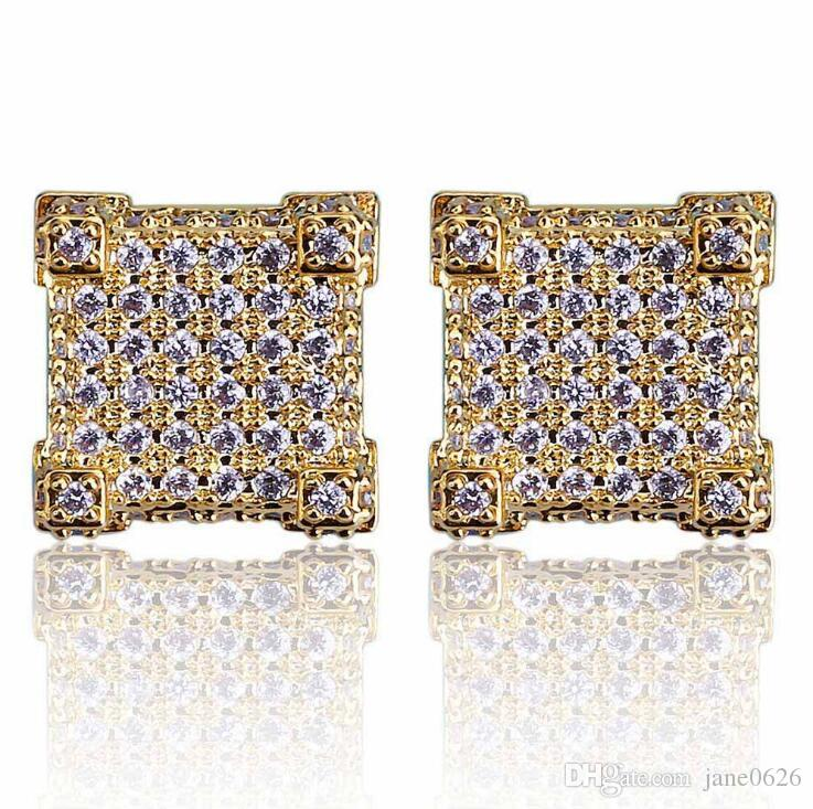 Earring Cubic Zirconia 925 Sterling Silver Cubist Screw Back 18k Yellow Gold/Silver Plated Hypoallergenic 3D Square Stud Earring for Men an