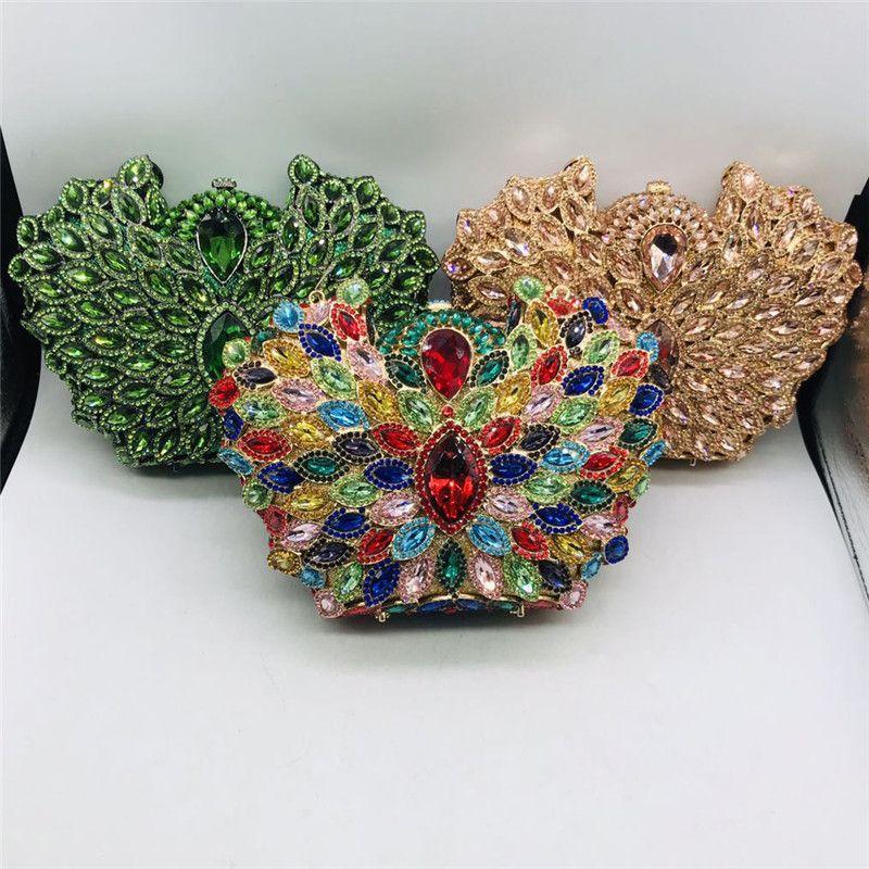 Вечерние сумки Последнее дизайн ослепительные женщины хрустальные металлические муфты элегантные свадьбы кошельки и сумочки