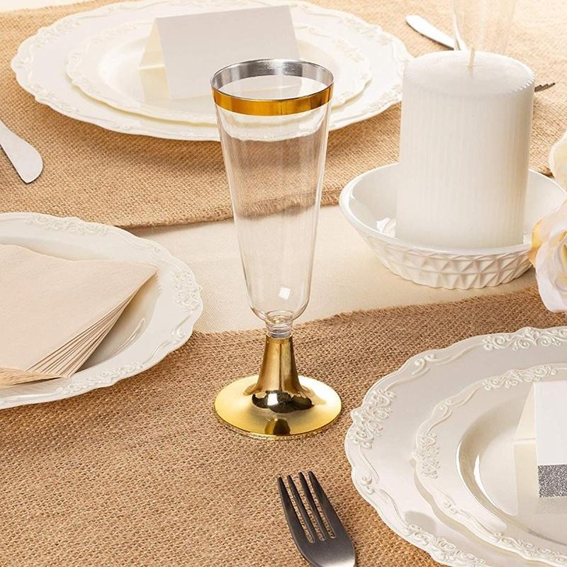 24Plastic Altın Çerçeveli Şampanya Flüt   5.5 Oz. Şeffaf Sert Tek Parti Düğün Cam Diğer Yemek takımı
