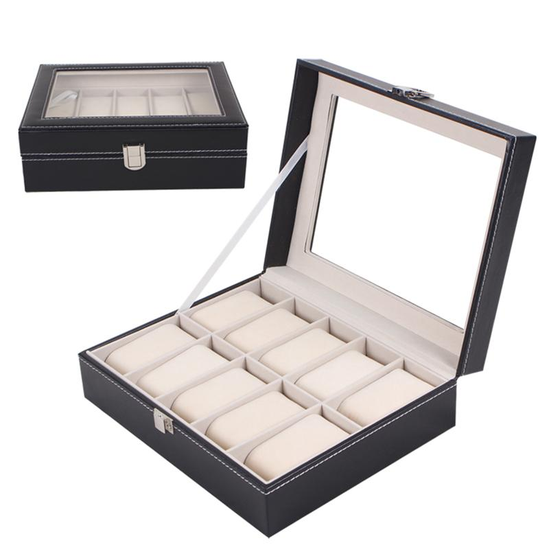 ZLIMSN 10 Grid Fashion Black Watch Box Refinement Slots Transparent Skylight Watchbox Jewelry Display Boxes Holder Caixa Relogio