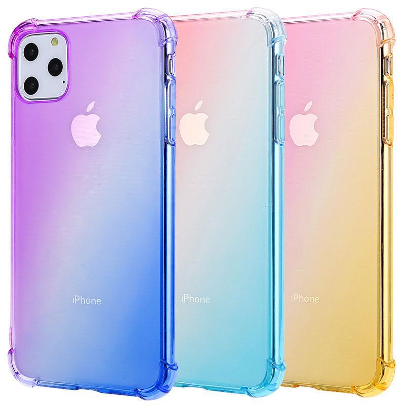 Cas de téléphone antichoc TPU transparent de couleur dégradée pour 2019 nouvel iPhone 11 XR XS MAX 8 Samsung S10 Plus Note 10 Pro